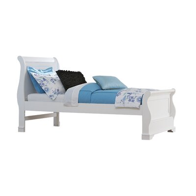 Javin Sleigh Wood Bed Size: Twin, Color: White