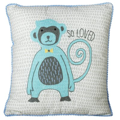 Perry Embroidered Monkey Cotton Throw Pillow