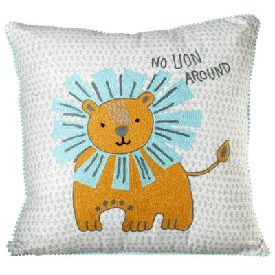Perry Embroidered Lion Cotton Throw Pillow