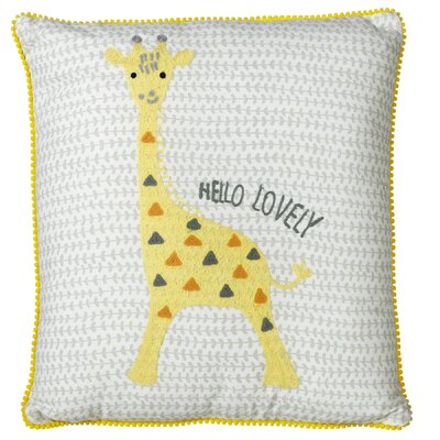Perry Embroidered Giraffe Cotton Throw Pillow