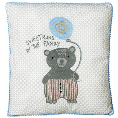 Perry Embroidered Bear with Balloon Cotton Throw Pillow