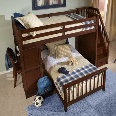 Javin Lower Stair Loft Bed Ends and Slat Size: Twin, Finish: Chocolate