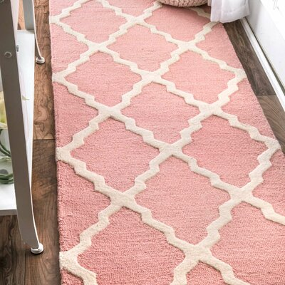 Kristen Hand-Woven Wool Baby Pink Area Rug Rug Size: Rectangle 36 x 56