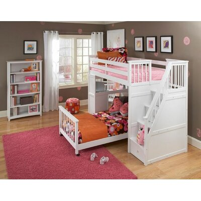 Lyric Twin Stair Loft with Desk End & Lower Bed Finish: White, Size: Twin over Full