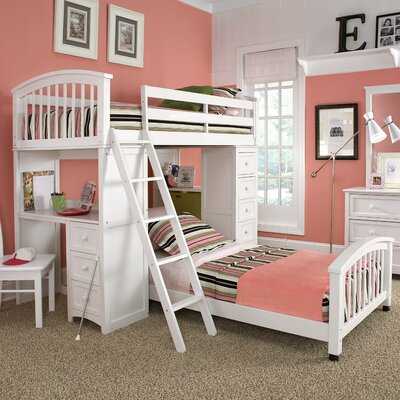 Javin Student Loft Lower Bed with Mattress Finish: White