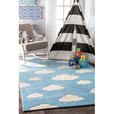 Lily Cloudy Sachiko Hand-Tufted Blue Area Rug Rug Size: 76 x 96