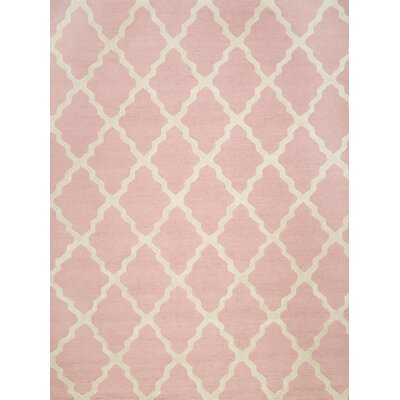 Kristen Hand-Woven Wool Baby Pink Area Rug Rug Size: Rectangle 76 x 96
