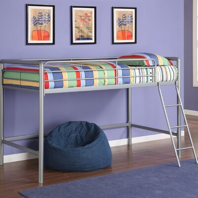 Myron Junior Twin Low Loft Bed Finish: Silver Metal