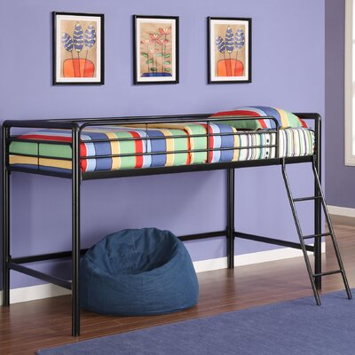 Myron Junior Twin Low Loft Bed Finish: Black Metal