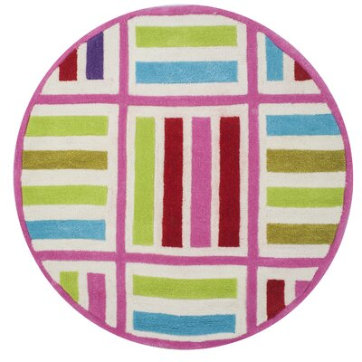 Kaylee Ivory/Pink Elements Area Rug Rug Size: Round 3