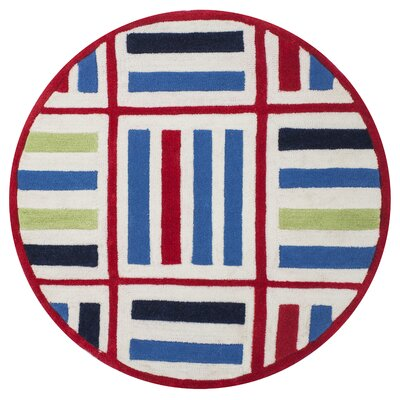 Kaylee Blue/Red Elements Area Rug Rug Size: Round 3