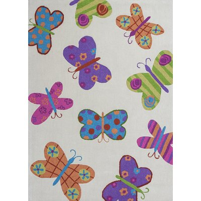 Kaylee Ivory Butterflies Area Rug Rug Size: Rectangle 76 x 96