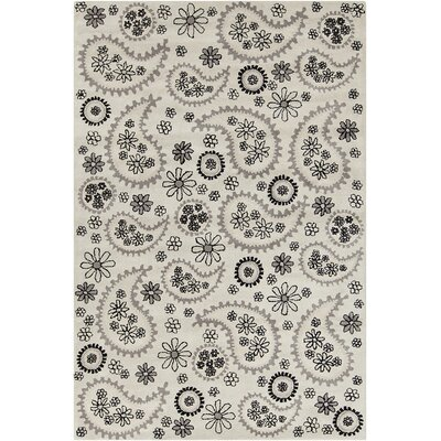 Roberto Hand Tufted Wool Gray/Black Area Rug Rug Size: 5 x 76