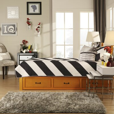 Theodore Twin Captain Bed with Trundle Bed Frame Color: Honey Pine