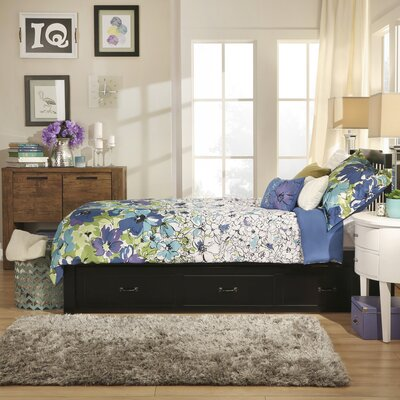 Theodore Twin Captain Bed with Trundle Bed Frame Color: Black