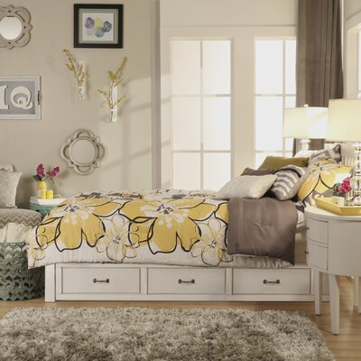 Theodore Twin Captain Bed with Trundle Bed Frame Color: Soft White
