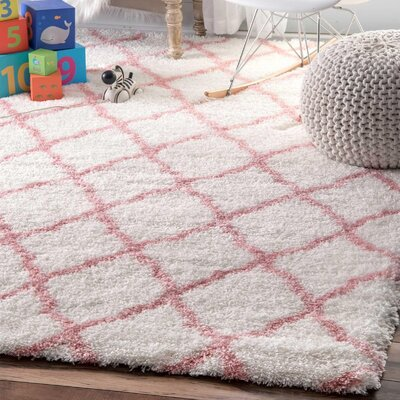Kellie Hand-Tufted Baby Pink Area Rug Rug Size: Round 53
