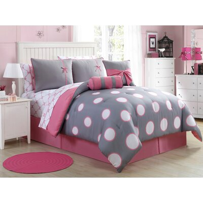 Rosalinda Comforter Set Size: Full, Color: Pink/Gray