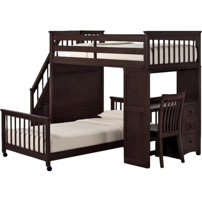 Lyric Twin Stair Loft with Desk End & Lower Bed Size: Twin over Twin, Finish: Chocolate