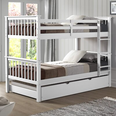 Esmeralda Solid Wood Twin Standard Bed with Trundle Finish: White