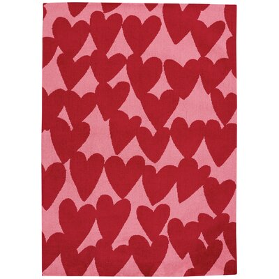 Daisy Confectionary Valentine Machine Tufted Red/Pink Area Rug Rug Size: 2 x 3