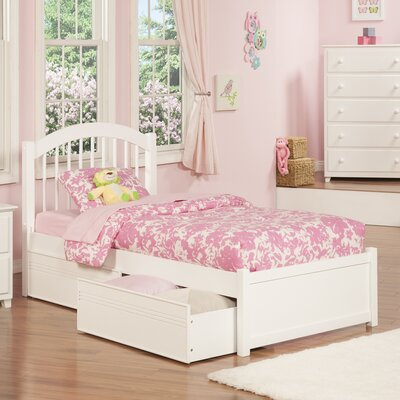 Matt Twin XL Panel Bed with Drawers Color: White
