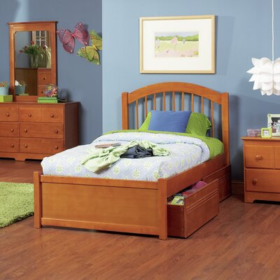 Matt Twin XL Panel Bed with Drawers Finish: Walnut