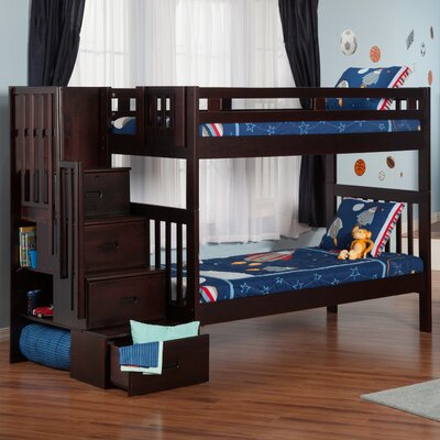 Twin Bunk Bed with Staircase