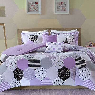 Hayley Comforter Set Size: Full/Queen, Color: Yellow/Pink