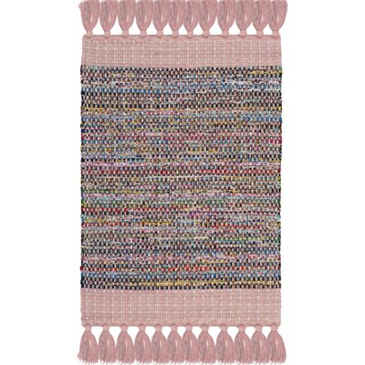 Abner Hand-Woven Pink/Gray Area Rug Rug Size: Rectangle 26 x 4