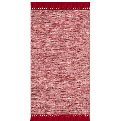 Zyra Hand-Woven Red/Gray Area Rug Rug Size: 23 x 39
