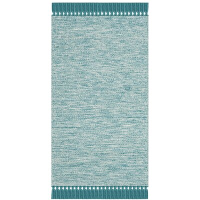 Zyra Hand-Woven Turquoise/Gray Area Rug Rug Size: Rectangle 8 x 10