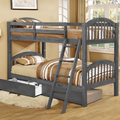 Jaylyn Twin Bunk Bed with Drawers Finish: Charcoal Gray