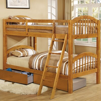 Jaylyn Twin over Twin Bunk Bed with Drawers Color: Oak