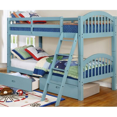 Jaylyn Twin over Twin Bunk Bed with Drawers Color: Seam Foam