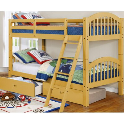 Lindsay Twin Bunk Bed with Drawers Finish: Yellow
