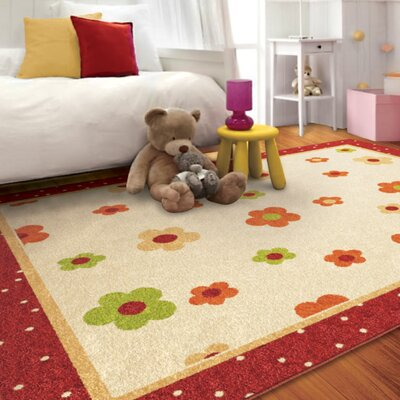 Rachael Sweet Daisies Red/Beige Area Rug Rug Size: 65 x 98