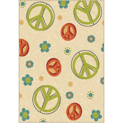 Rachael Peace Beige/Green Area Rug Rug Size: 52 x 76