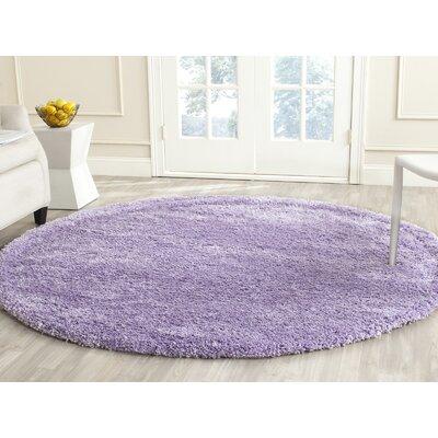 Ariel Lilac Shag Area Rug Rug Size: Round 67