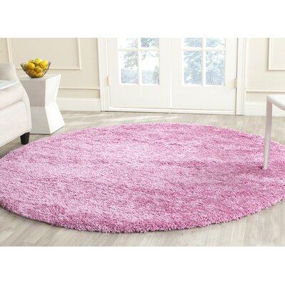 Ariel Pink Indoor Area Rug Rug Size: Round 4