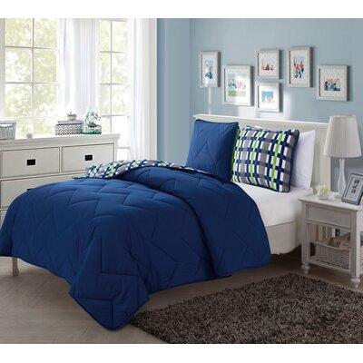 Tanisha 2 Piece Reversible Comforter Set Color: Navy