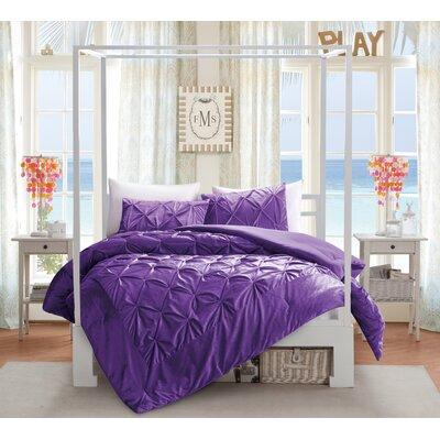 Tommie Plush Fleece Down Alternative 2 Piece Quilt Set Size: Twin, Color: Purple