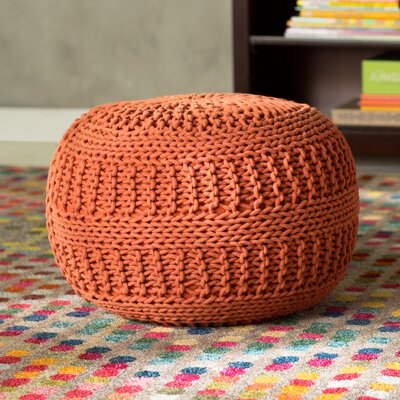 Ramon Color Cable Knit Pouf Upholstery: Rust