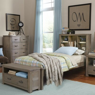 Wilbur Platform Bed with Bookcase Finish: Driftwood, Size: Full