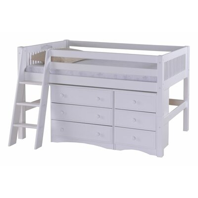 Oakwood Wood Low Loft Bed with Storage Color: White