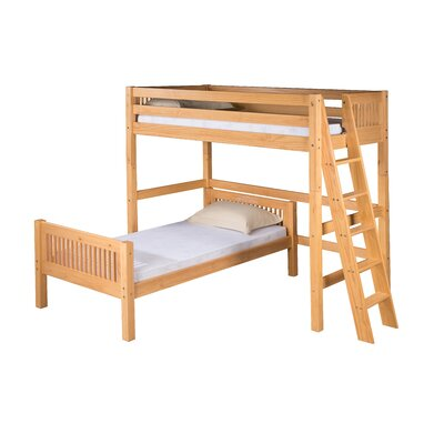 Oakwood L-Shaped Wood Frame Bunk Bed Configuration: Twin over Twin