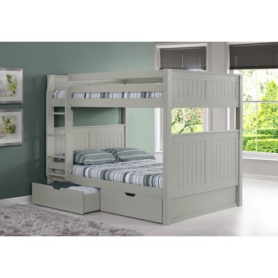 Isabelle Full over Full Bunk Bed with Storage Finish: Grey