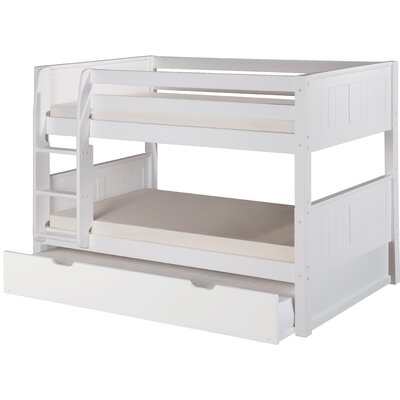 Isabelle Low Twin over Twin Bunk Bed with Trundle Color: White