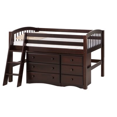Oakwood Low Loft Bed with Storage Finish: Cappuccino