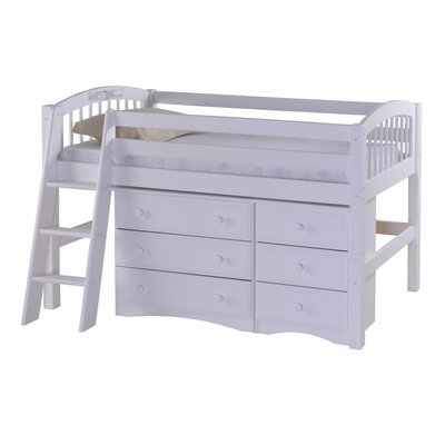 Oakwood Low Loft Bed with Storage Color: White
